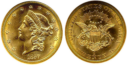 1857 S Double Eagle Type 1 Double Eagles Type I S Mint